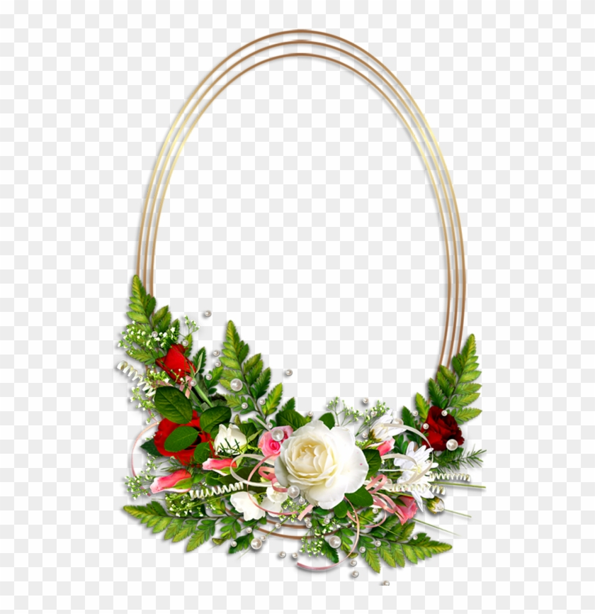 Oval Transparent Photo Frame With Flowers.