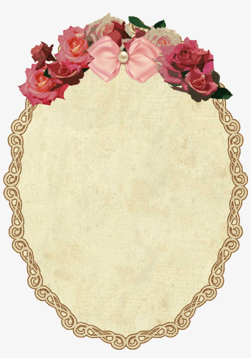 Vintage Oval Frame With Flowers.