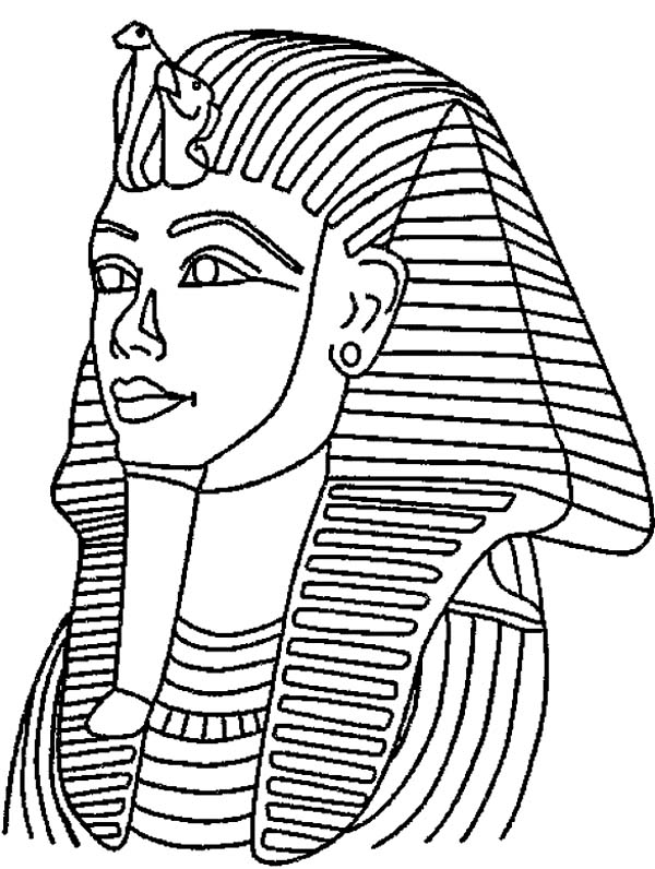 King Tut Death Mask Mummy Coloring Page.