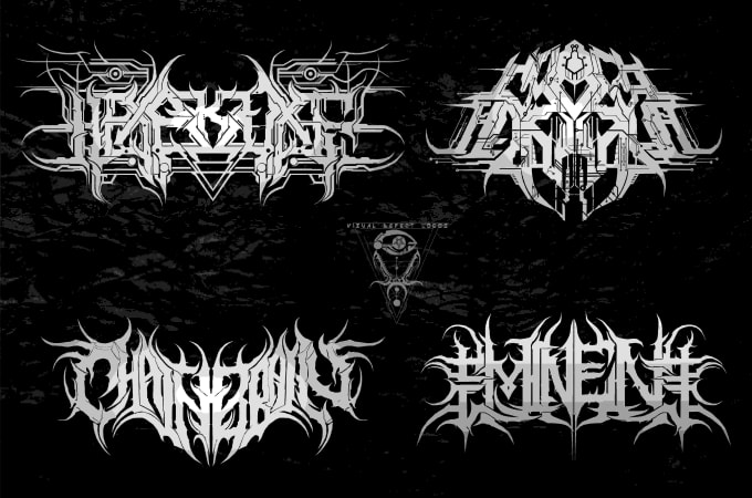 design technical death metal logo n progressive death metal.