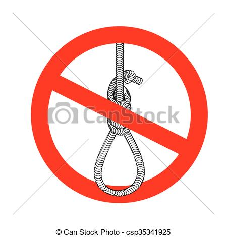 Vector Illustration of Stop gallows. It is forbidden to death by.