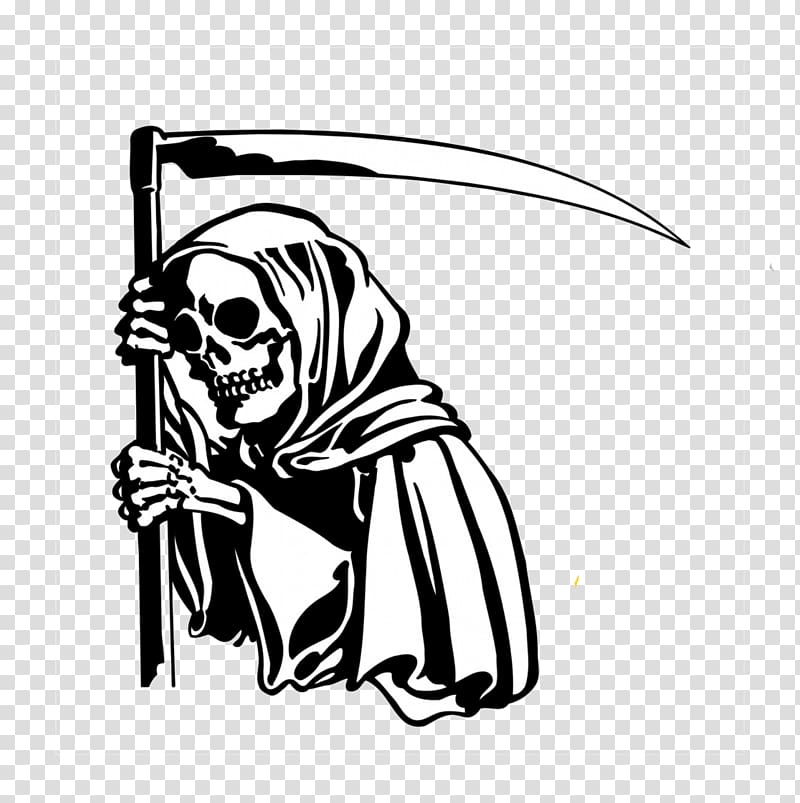 Death Sticker Wall decal Reaper, death\'s head transparent.