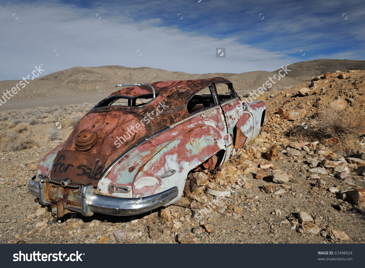 Abandoned Automobile Aguereberry Camp Death Valley Stock Photo.
