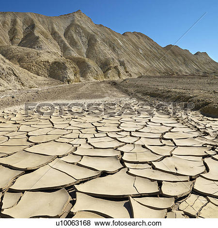Pictures of Arrid landscape in Death Valley National Park with dry.