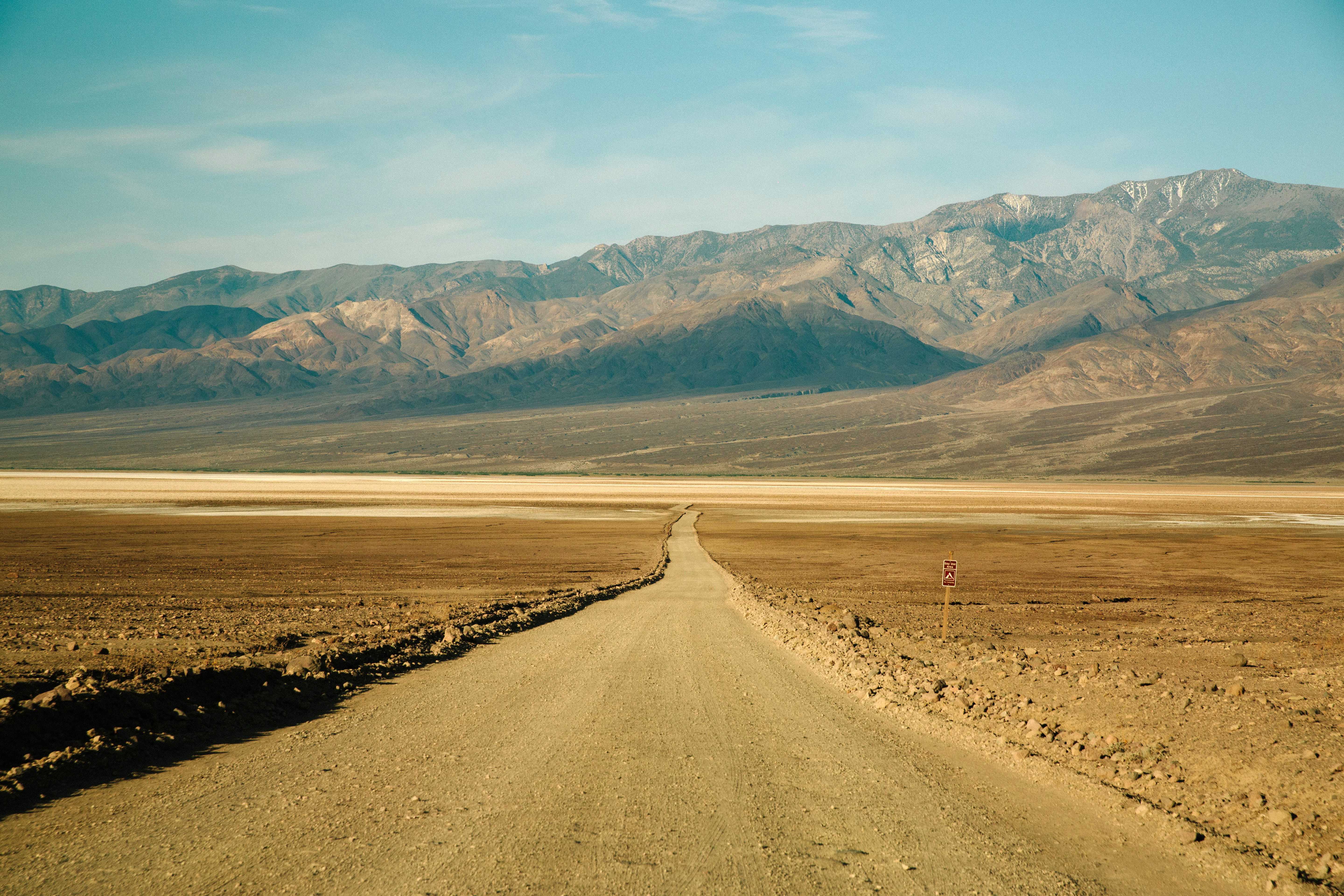 Roadway through the desert at Death Valley National Park, Nevada.