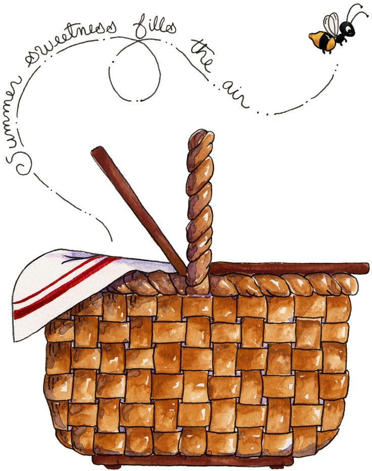 Country Picnic Basket Clipart.