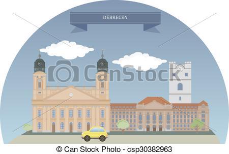 Clip Art Vector of Debrecen, Hungary.