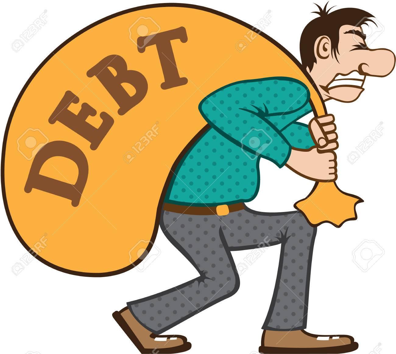 Debt man vector illustration clip.