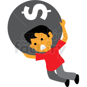 debt weight cartoon vector clipart . Royalty.