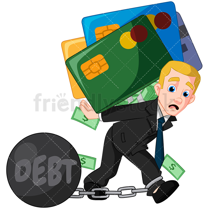 A Businessman Carrying A Load Of Debt And Wearing Chains.