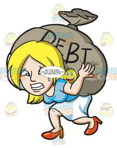 A Woman Carrying A Heavy Sack Of Debt.