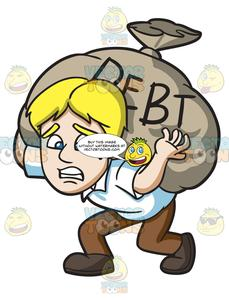 A Man Carrying A Heavy Sack Of Debt.