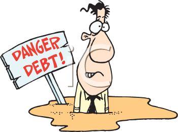 Royalty Free Clip Art Image: Cartoon of a Man Sinking in Debt.