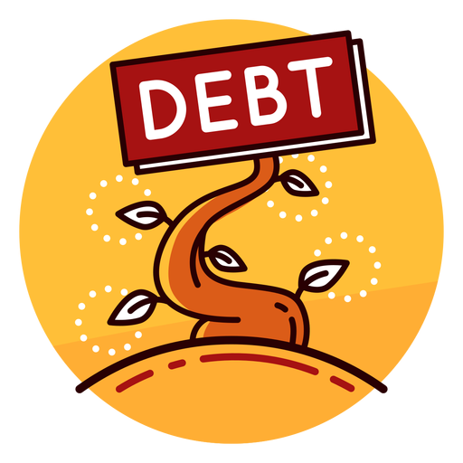 Debt growth icon.