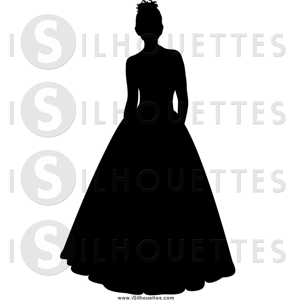 Clipart of a Black Silhouetted Bride or Debutante in a.