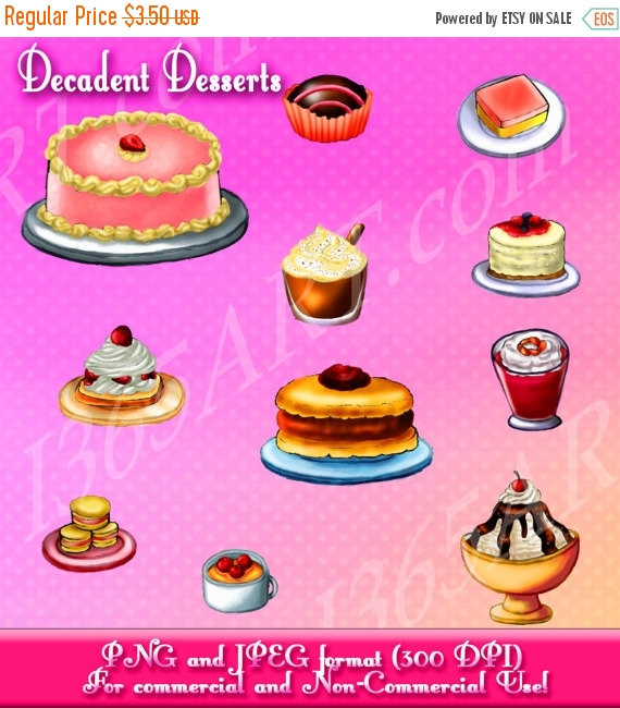 50% OFF Sale Desserts Clipart Pack cake ice cream by I365Art.
