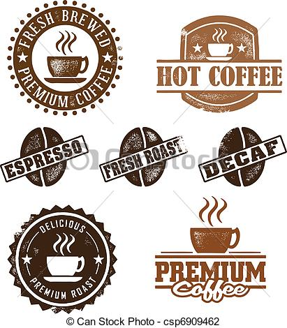 Vector Illustration of Vintage Style Coffee Stamps.