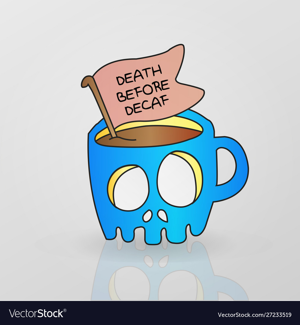 Skeleton mug decaf coffee drink.