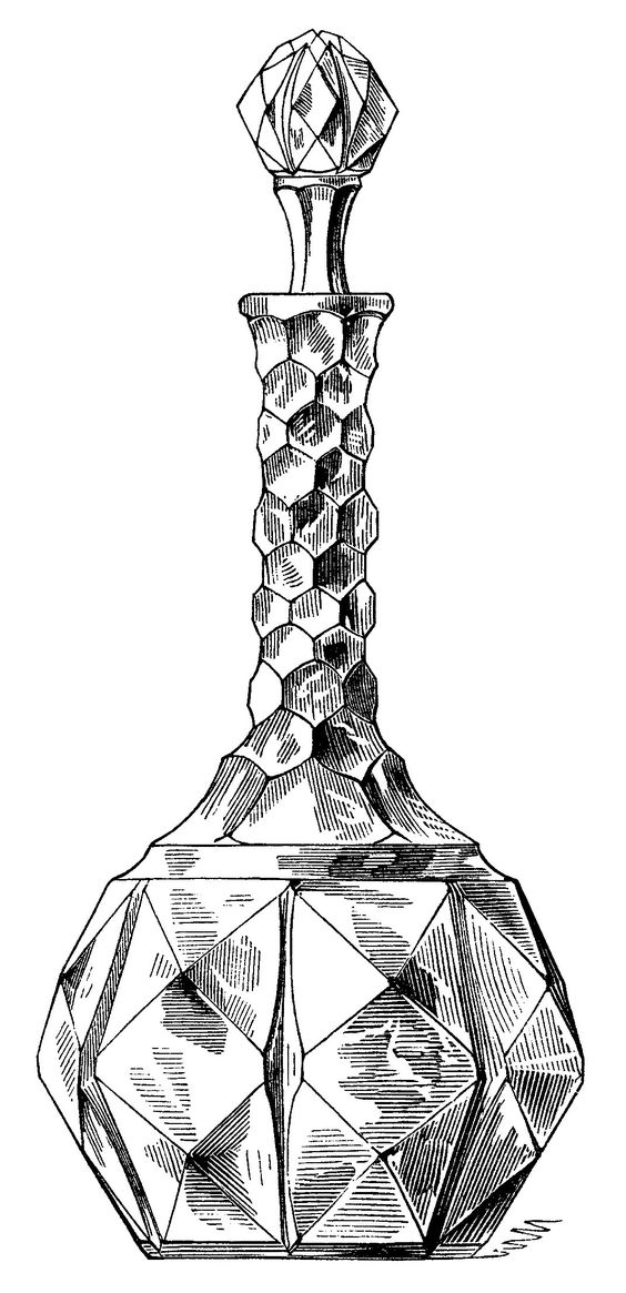 vintage wine decanter clip art, antique wine bottle, black and.
