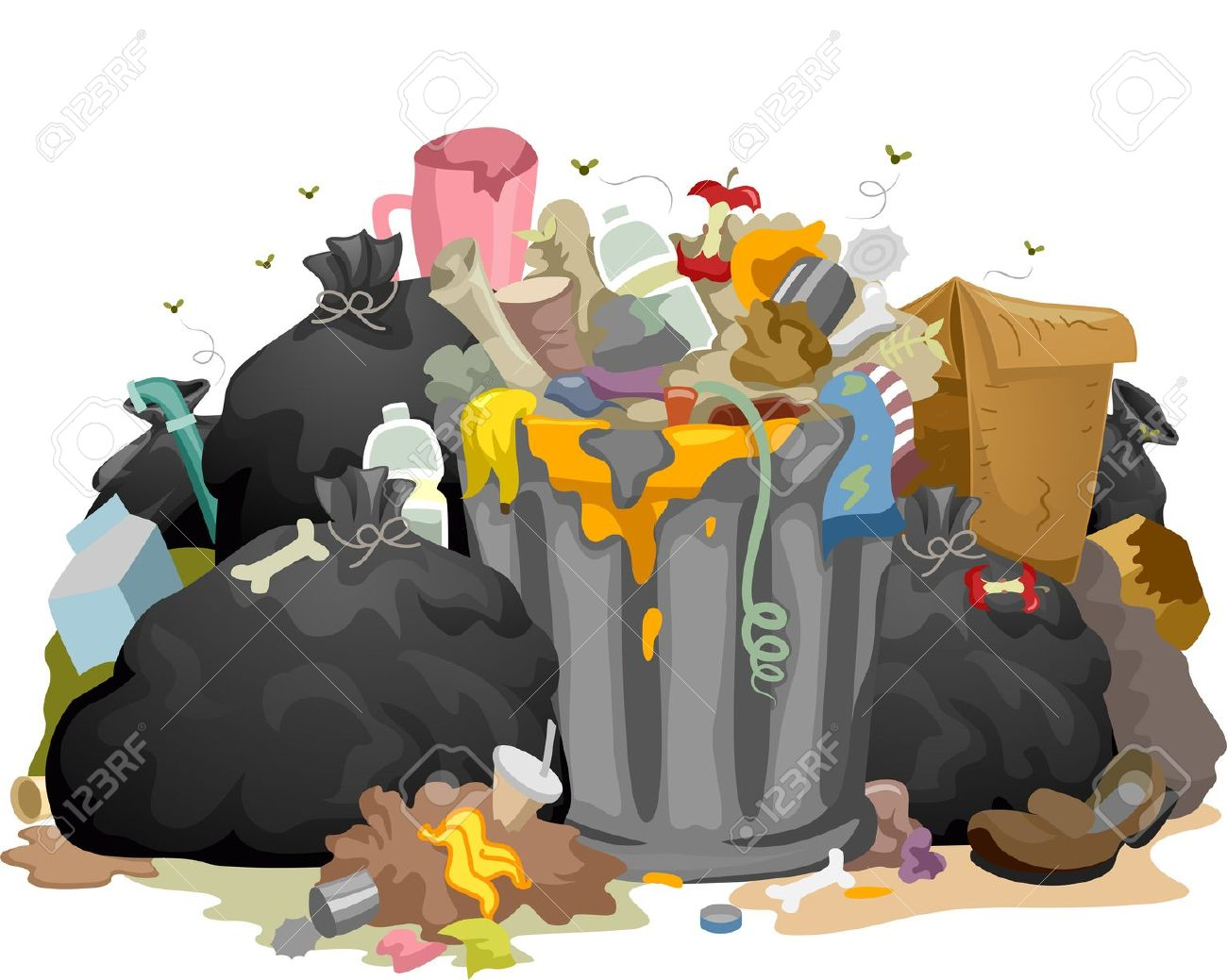 Illustration Of A Pile Of Decaying Garbage Left Lying Around.