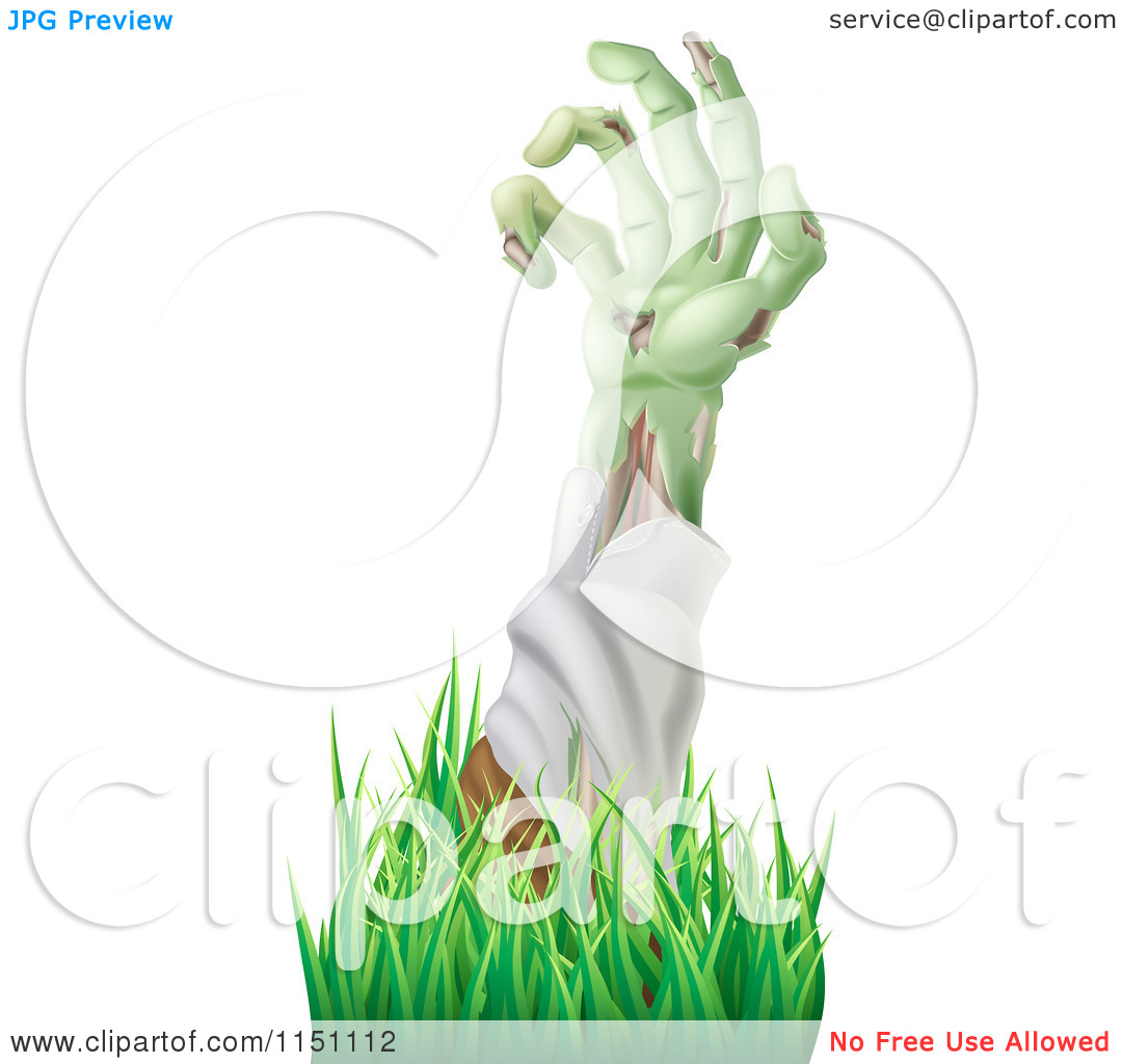 Clipart of a Decaying Green Zombie Arm Reaching out Through Grass.