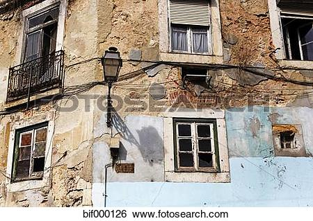 Stock Images of Portugal, Lisbon, Alfama, facade of decaying house.