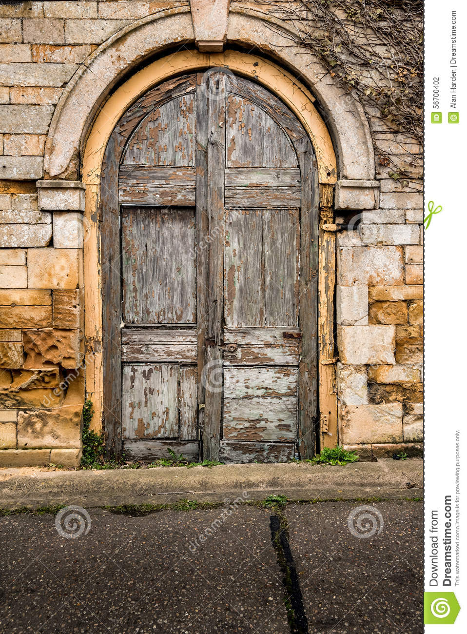 Old Decaying Wooden Double Doors Stock Photo.