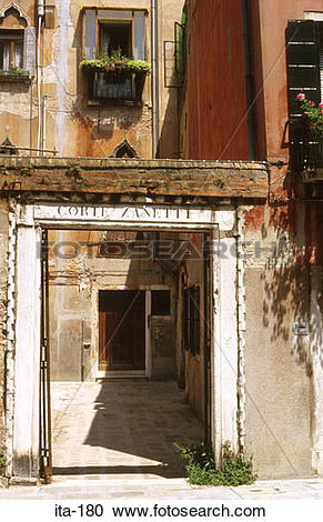 Stock Photography of Gateway to Decaying House Venice Italy ita.