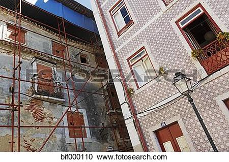Stock Photography of Portugal, Lisbon, Alfama, facades of a.