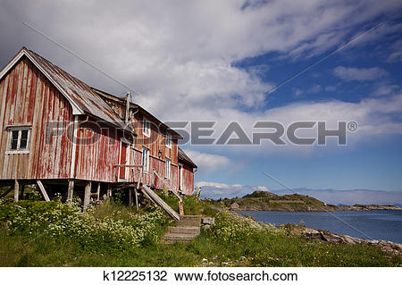 Stock Photo of Old decaying fishing house k12225132.