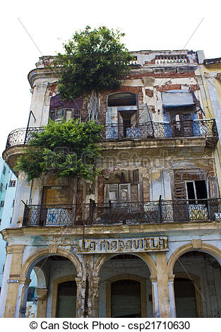 Stock Photos of decaying building, havana.