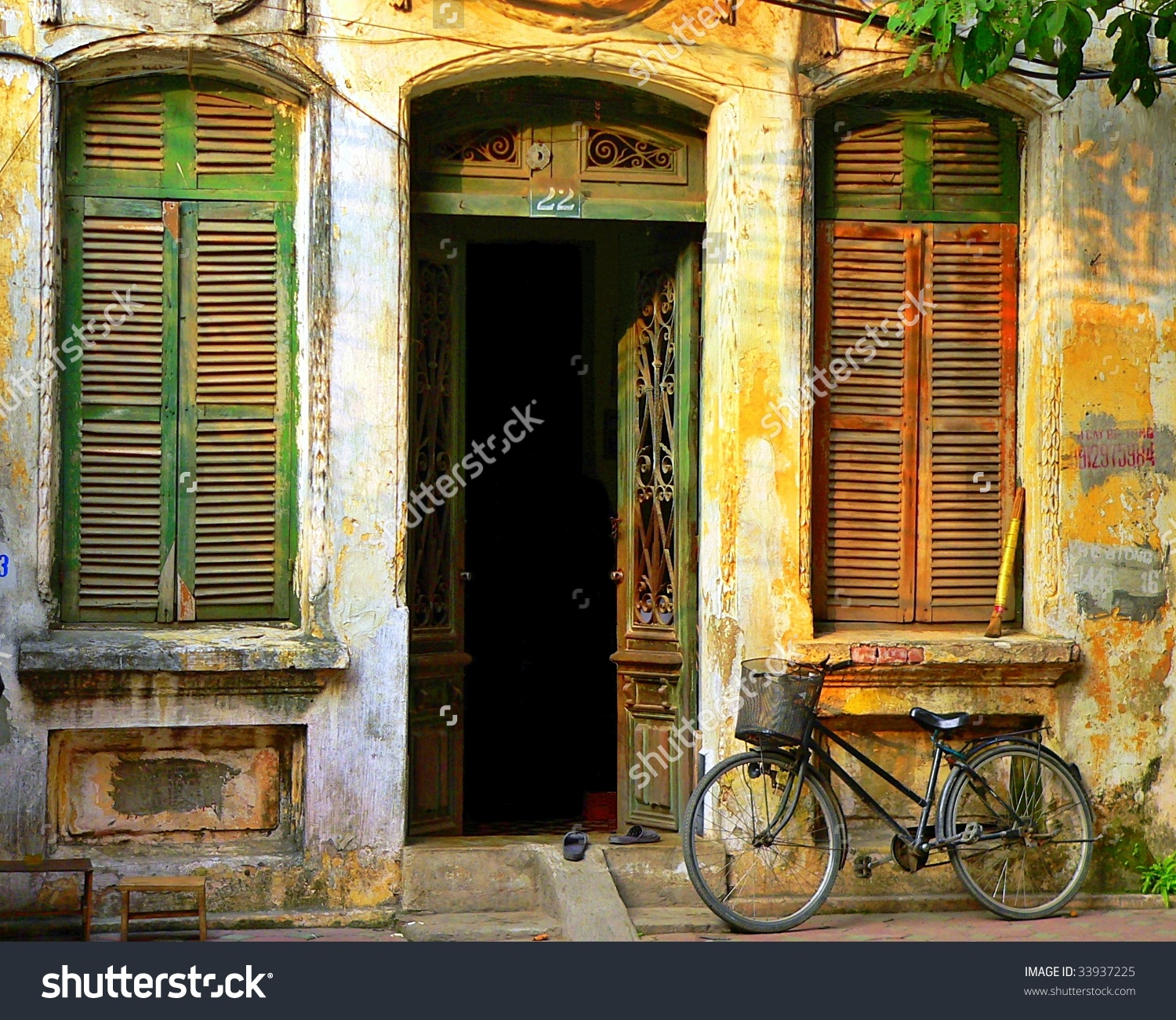 Old Decaying House Open Door Shutters Stock Photo 33937225.