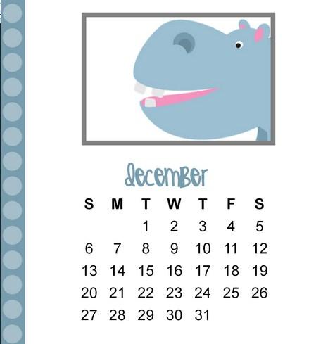 December 2015 Calendar Clipart.