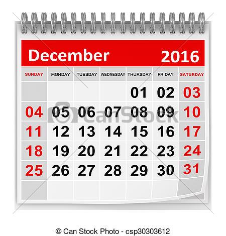 December 2016 Clipart.