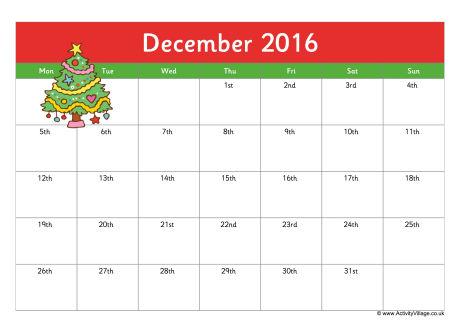 December 2016 Calendar Clipart.