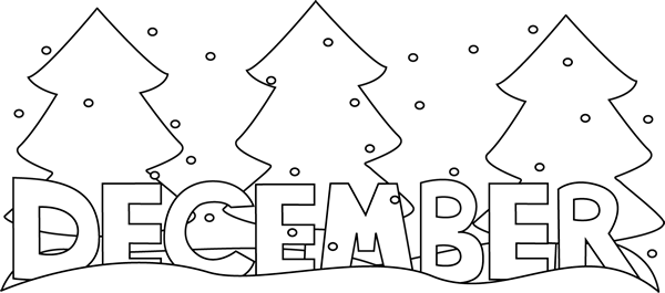 Black and White Month of December Snow Clip Art.