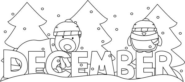 Black and White Month of December Winter Scene Clip Art.