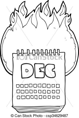 black and white cartoon calendar showing month of december.