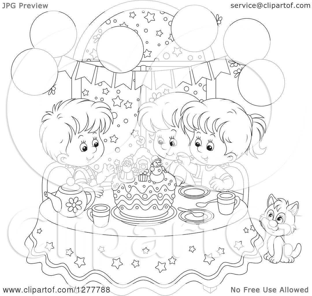 Clipart of Happy Black and White Children and a Cat Celebrating a.