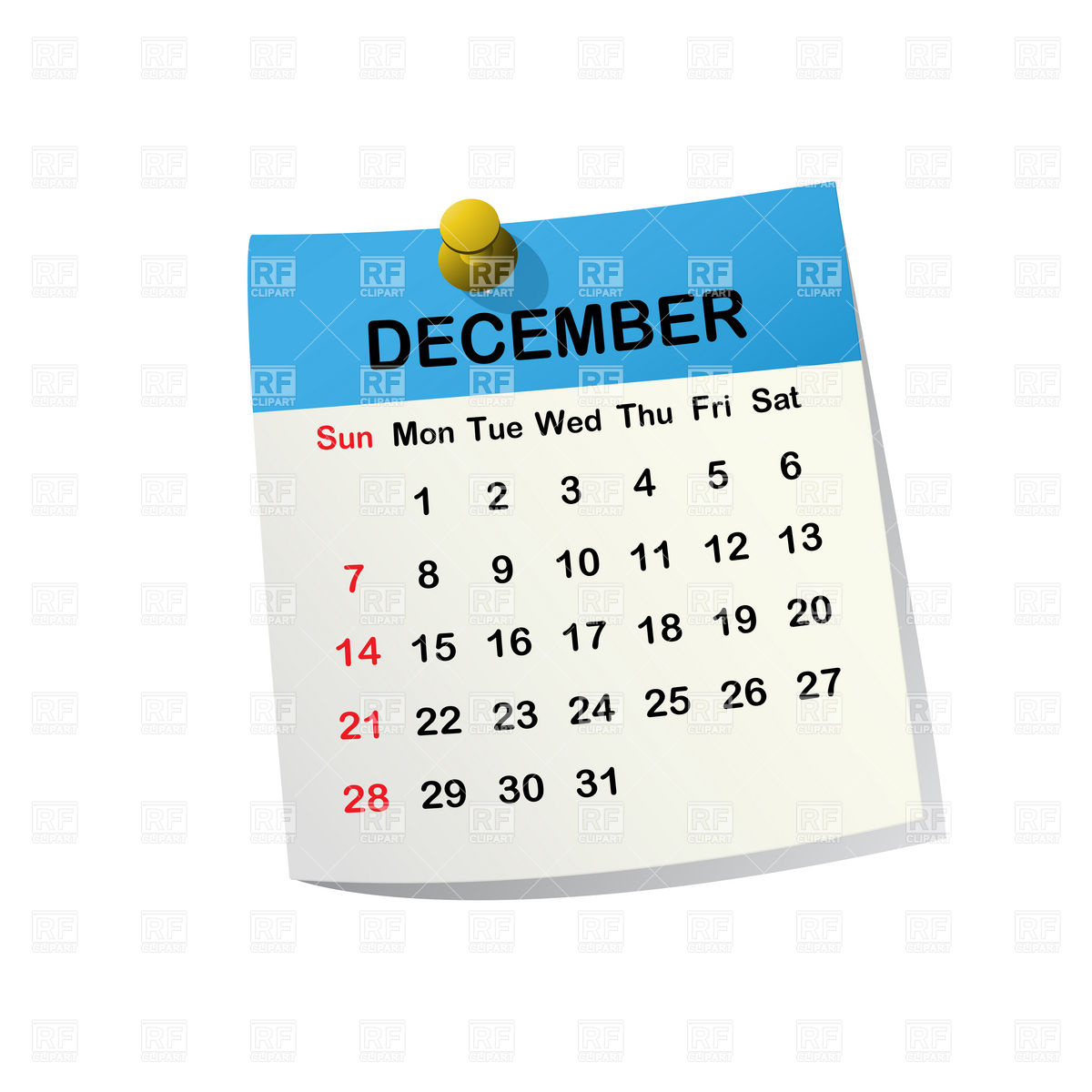 December 2014 month calendar Stock Vector Image.