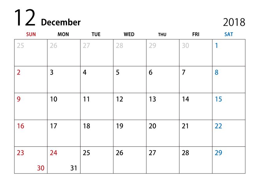 December 2018 Calendar Clipart.