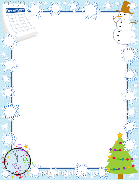December Border: Clip Art, Page Border, and Vector Graphics.
