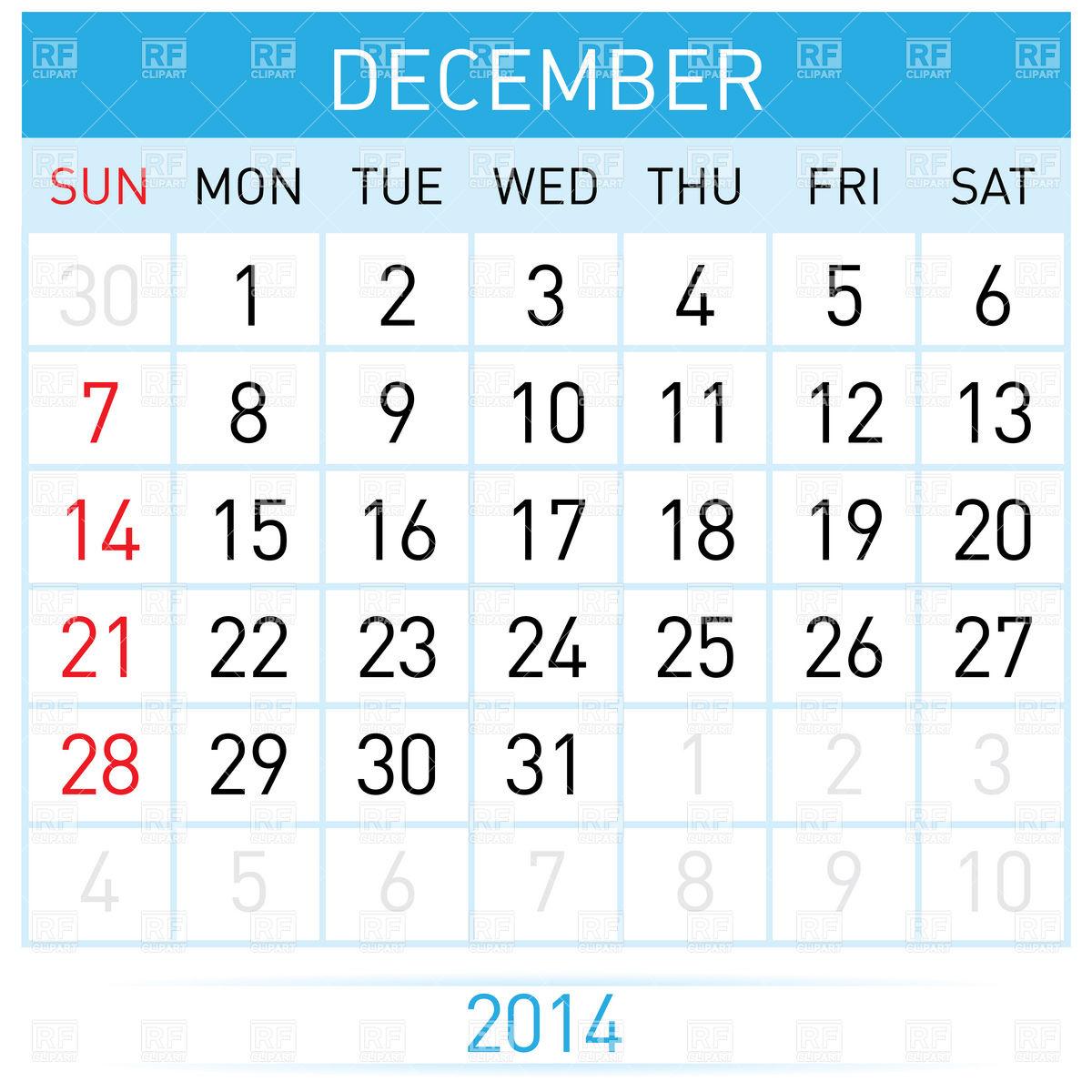 December 2014 month calendar Stock Vector Image.