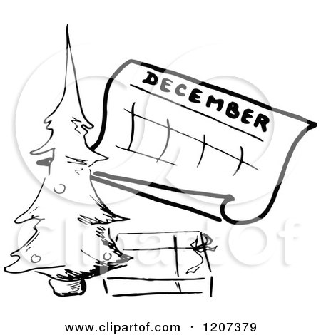 Clipart of a Vintage Black and White December Calendar with a.