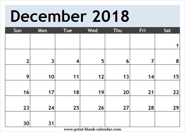 Free December 2018 Calendar Clipart Page.