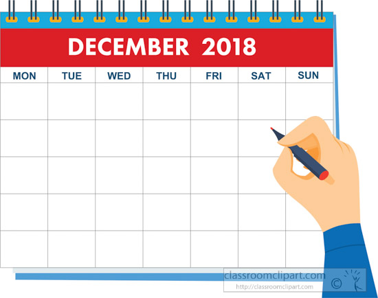 Hand writing december calendar 2018 clipart » Clipart Station.
