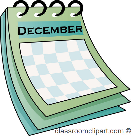 December Date Calendar Clipart.