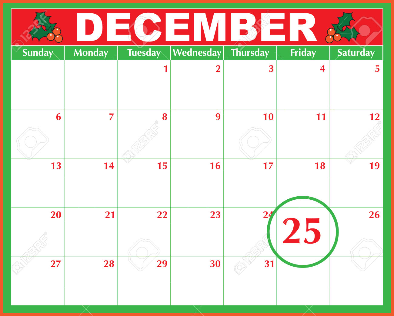 A December Calendar Showing The 25th Prominently Royalty Free.