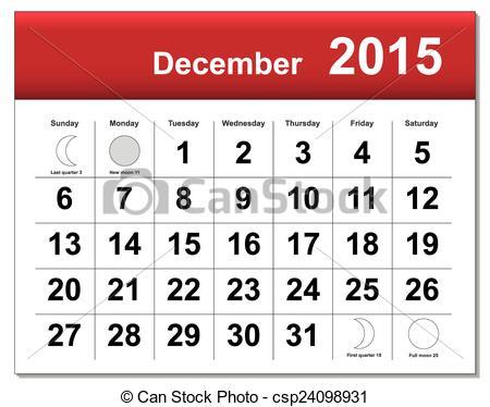 Clipart Of A December 2015 Calendar.