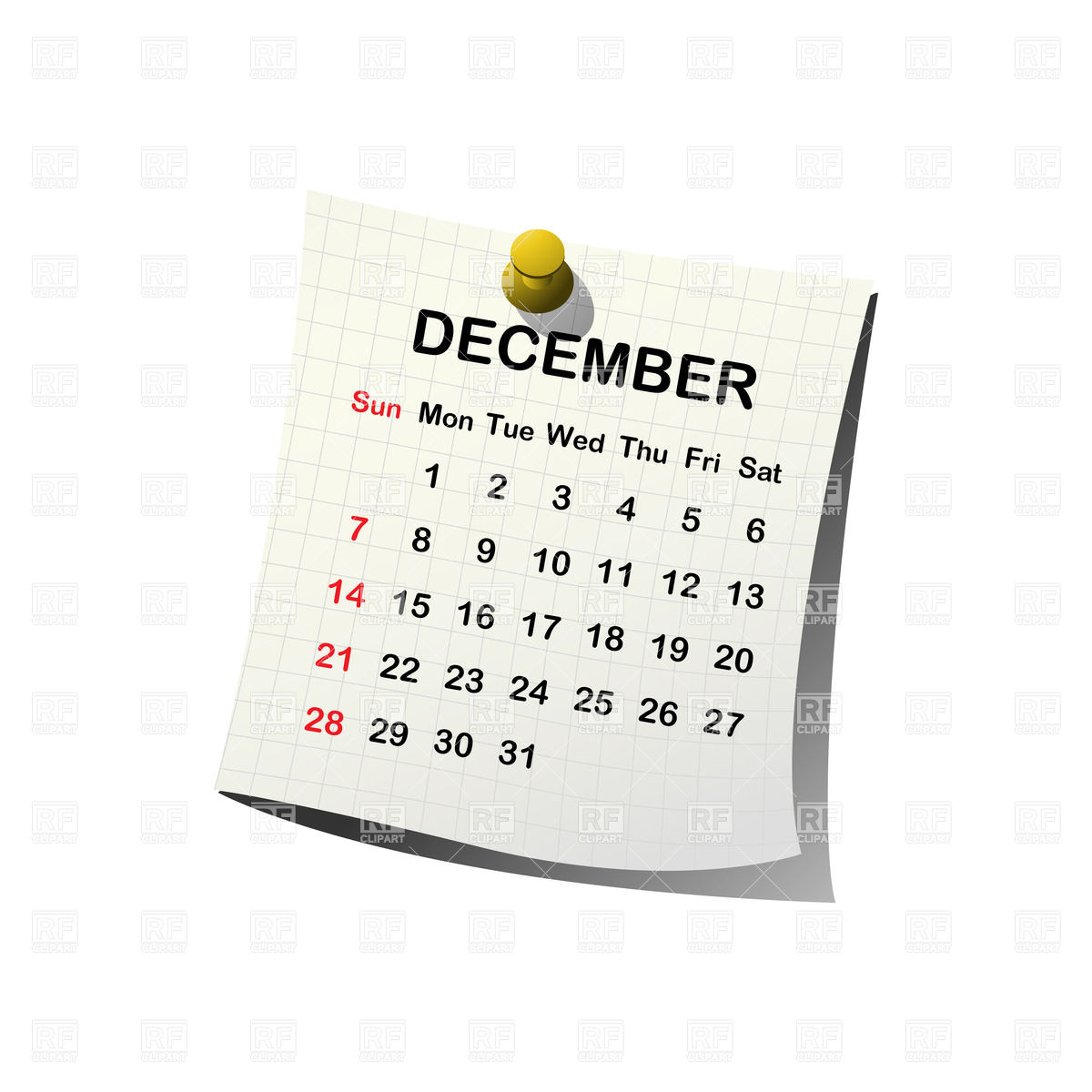 2016 Calendar Clipart Free December.